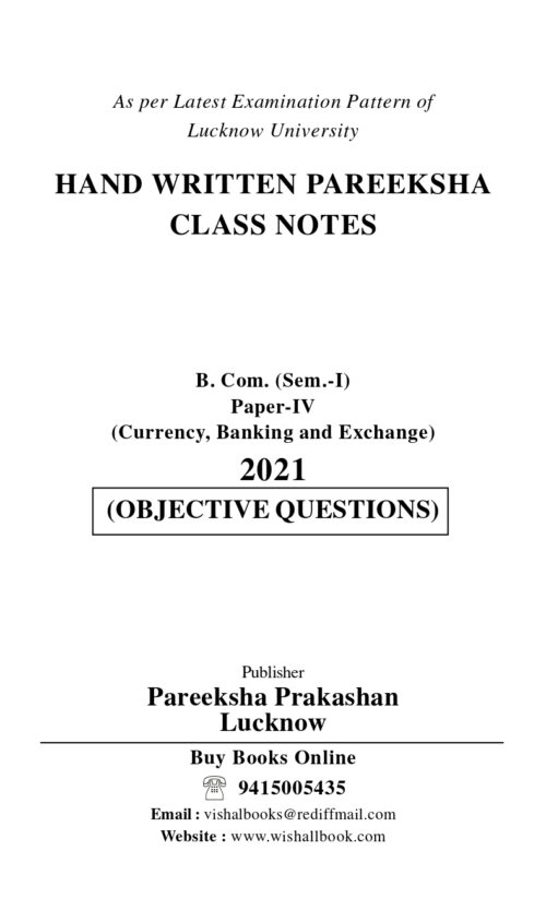 Pareeksha Currency Banking And Exchange BCom Ist Sem Class Notes