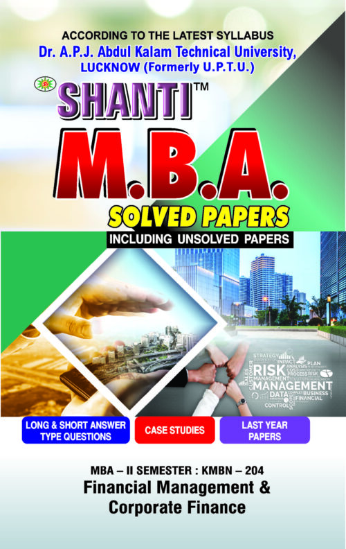 Financial Management and Corporate Finance MBA 2nd Sem Shanti Publication
