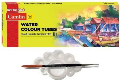 Camlin 18 Shades Water Colour Tubes with Tray and Brush