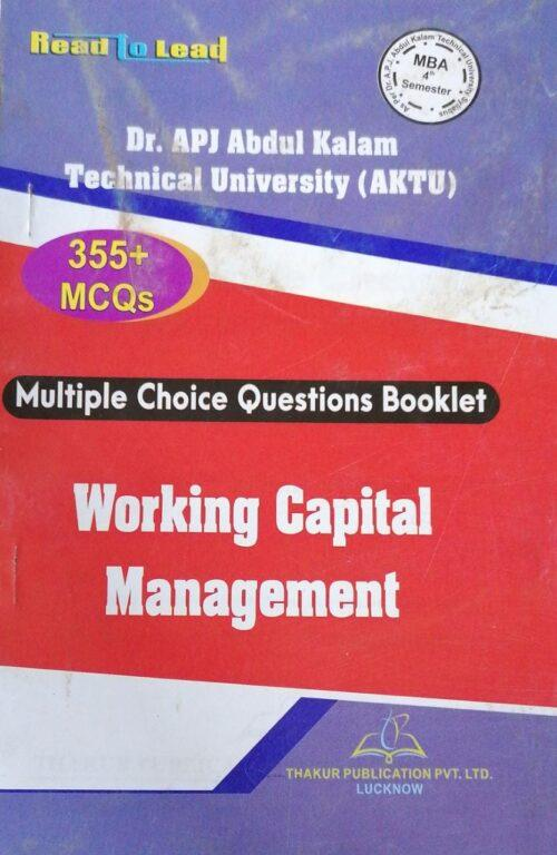 MBA 4th Semester Thakur MCQs Working Capital Management New Edition 2020