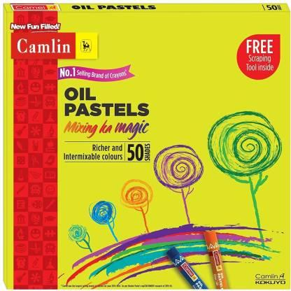 Camlin High Quality Oil Pastels 50 Shades with Scrapping Tool
